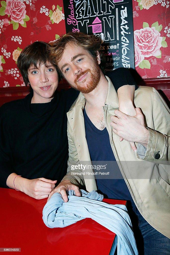 Gael Giraudeau (R) and his sister Sarah Giraudeau attend 'L'oiseau Bleu' at Theatre Hebertot on May 31, 2016 in Paris, France.