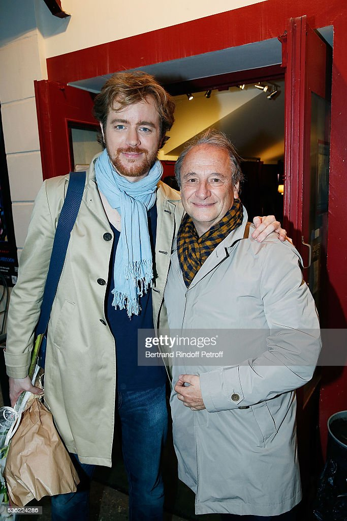 Gael Giraudeau and Patrick Braoude attend 'L'oiseau Bleu' at Theatre Hebertot on May 31 2016 in Paris France