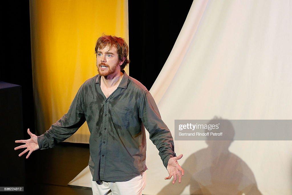 Gael Giraudeau performs during 'L'oiseau Bleu' at Theatre Hebertot on May 31, 2016 in Paris, France.