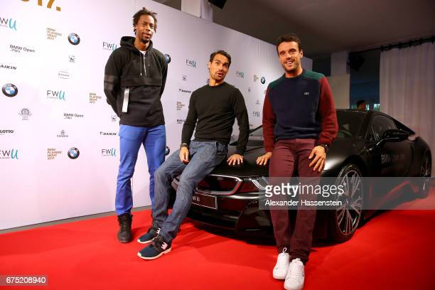 Gael Monfils Fabio Fognini and Roberto Bautista Agut arrive at the Players Night of the 102 BMW Open by FWU at Iphitos tennis club on April 30 2017...