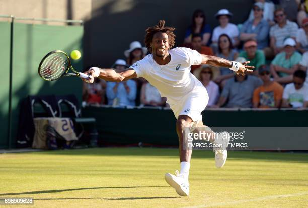Gael Monfils in action against Pablo Carreno Busta on day two of the Wimbledon Championships at the All England Lawn Tennis and Croquet Club Wimbledon