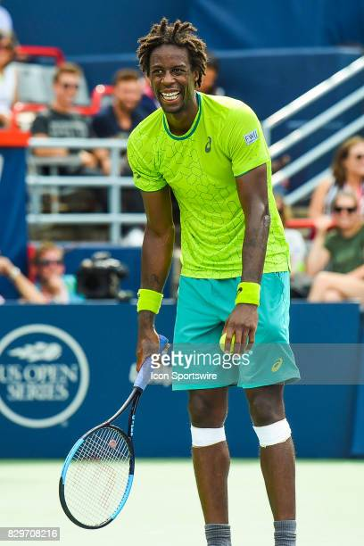 Gael Monfils lughing after a fan screamed a comment in the crowd during his third round match at ATP Coupe Rogers on August 10 at Uniprix Stadium in...