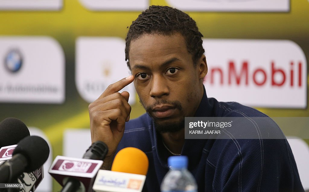 Gael Monfils of France attends a press conference on the first day of the 2013 ATP Qatar Open tennis competition in Doha on December 31, 2012. AFP PHOTO / AL-WATAN DOHA / KARIM JAAFAR == QATAR OUT ==
