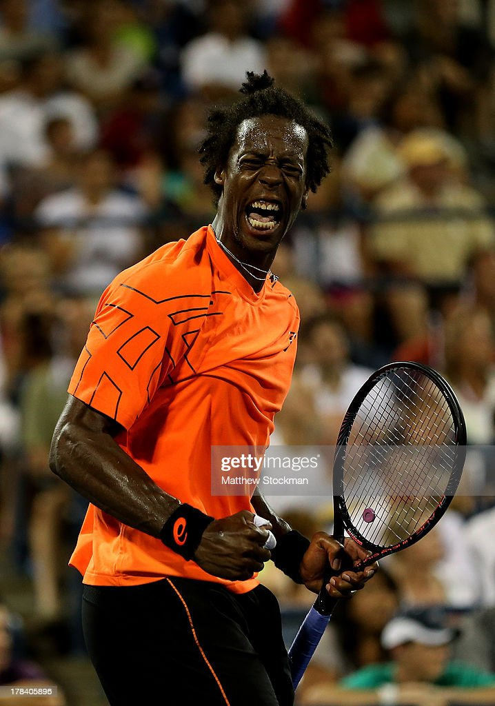 <a gi-track='captionPersonalityLinkClicked' href=/galleries/search?phrase=Gael+Monfils&family=editorial&specificpeople=213774 ng-click='$event.stopPropagation()'>Gael Monfils</a> of France celebrates a point during his men's singles second round match against John Isner of the United States of America on Day Four of the 2013 US Open at USTA Billie Jean King National Tennis Center on August 29, 2013 in the Flushing neighborhood of the Queens borough of New York City.