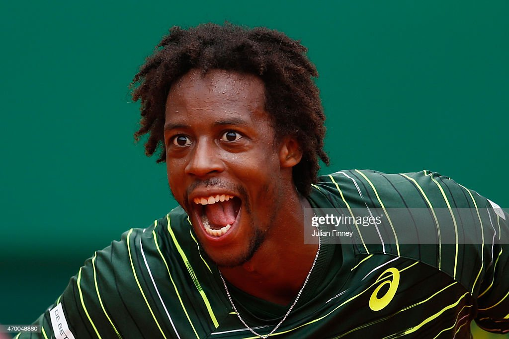 <a gi-track='captionPersonalityLinkClicked' href=/galleries/search?phrase=Gael+Monfils&family=editorial&specificpeople=213774 ng-click='$event.stopPropagation()'>Gael Monfils</a> of France celebrates defeating Grigor Dimitrov of Bulgaria during day six of the Monte Carlo Rolex Masters tennis at the Monte-Carlo Sporting Club on April 17, 2015 in Monte-Carlo, Monaco.