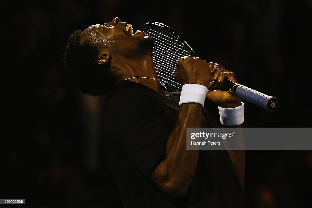 <a gi-track='captionPersonalityLinkClicked' href=/galleries/search?phrase=Gael+Monfils&family=editorial&specificpeople=213774 ng-click='$event.stopPropagation()'>Gael Monfils</a> of France celebrates winning his quarterfinal match against Tommy Haas of Germany during day four of the Heineken Open at the ASB Tennis Centre on January 10, 2013 in Auckland, New Zealand.