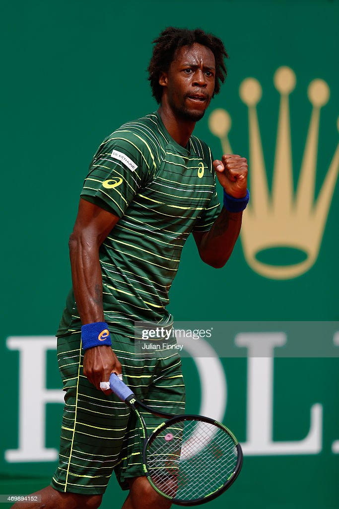 Gael Monfils of France celebrates winning the first set against Roger Federer of Switzerland during day five of the Monte Carlo Rolex Masters tennis at the Monte-Carlo Sporting Club on April 16, 2015 in Monte-Carlo, Monaco.