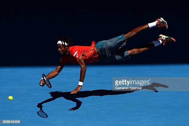 Gael Monfils of France dives for a forehand in his fourth round match against Andrey Kuznestov of Russia during day eight of the 2016 Australian Open...