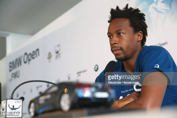 Gael Monfils of France during a press conference of the 102 BMW Open by FWU at Iphitos tennis club on May 3 2017 in Munich Germany