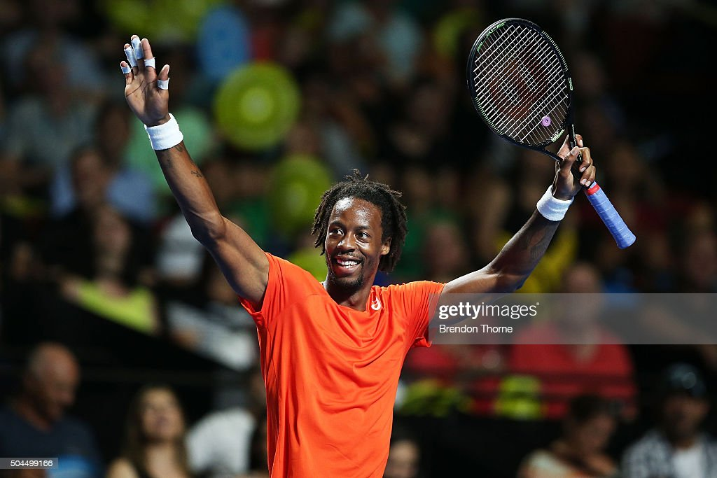 <a gi-track='captionPersonalityLinkClicked' href=/galleries/search?phrase=Gael+Monfils&family=editorial&specificpeople=213774 ng-click='$event.stopPropagation()'>Gael Monfils</a> of France gestures during the FAST4 Tennis exhibition match between <a gi-track='captionPersonalityLinkClicked' href=/galleries/search?phrase=Gael+Monfils&family=editorial&specificpeople=213774 ng-click='$event.stopPropagation()'>Gael Monfils</a> and Nick Kyrgios at Allphones Arena on January 11, 2016 in Sydney, Australia.