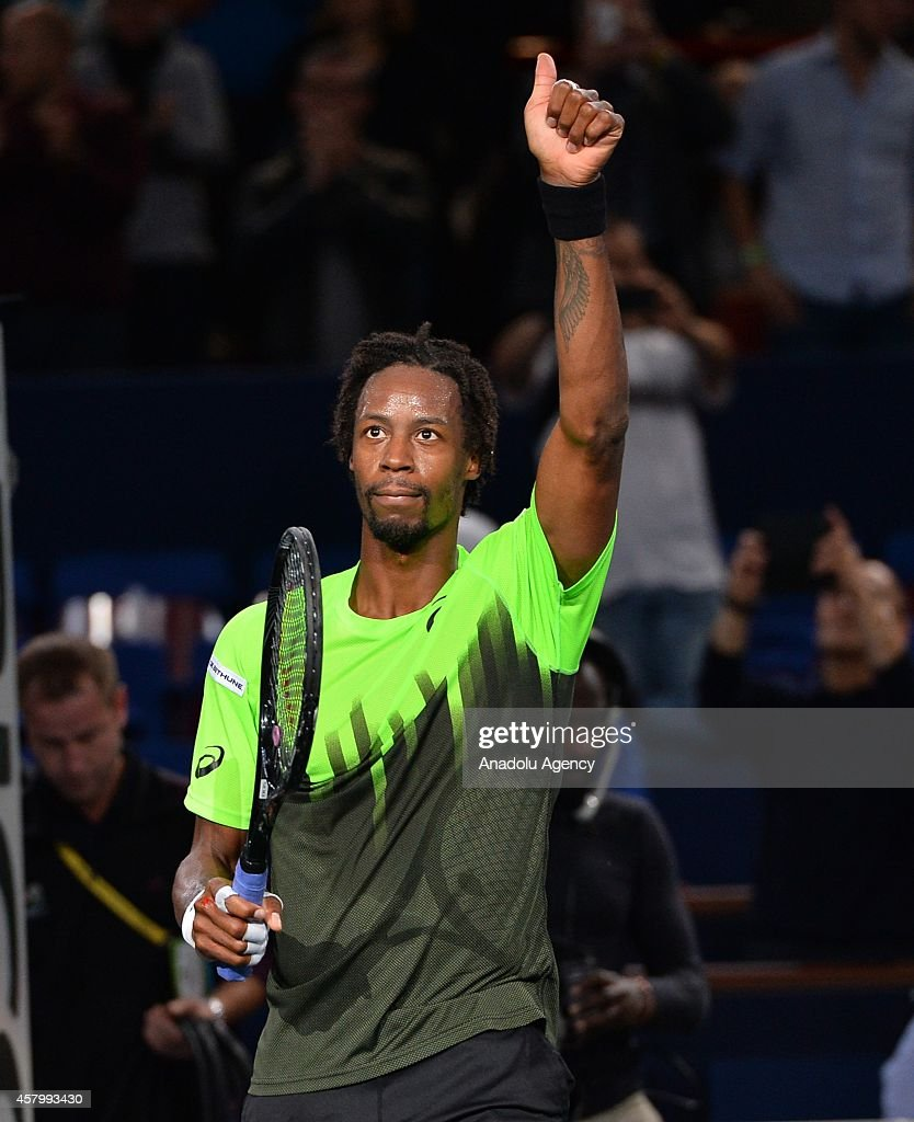 Gael Monfils of France gestures during the match against Joao Sousa of Portugal in the men's singles on BNP Paribas Masters Tennis Tournament Cup 2014 in Paris, France on October 28, 2014.