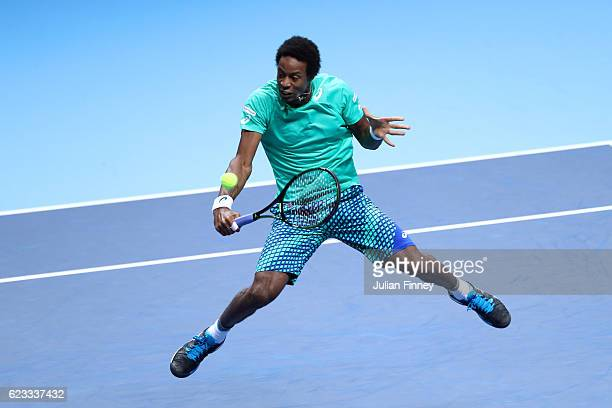 Gael Monfils of France hits a backhand volley during his men's singles match against Dominic Thiem of Austria on day three of the ATP World Tour...