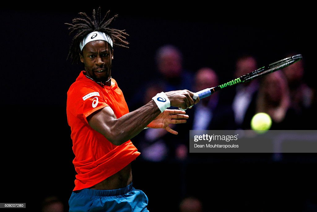 Gael Monfils of France in action against Ernests Gulbis of Latvia during day 2 of the ABN AMRO World Tennis Tournament held at Ahoy Rotterdam on February 9, 2016 in Rotterdam, Netherlands.