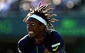 Gael Monfils of France in action against Kei Nishikori of Japan in their quarter final match during the Miami Open Presented by Itau at Crandon Park...