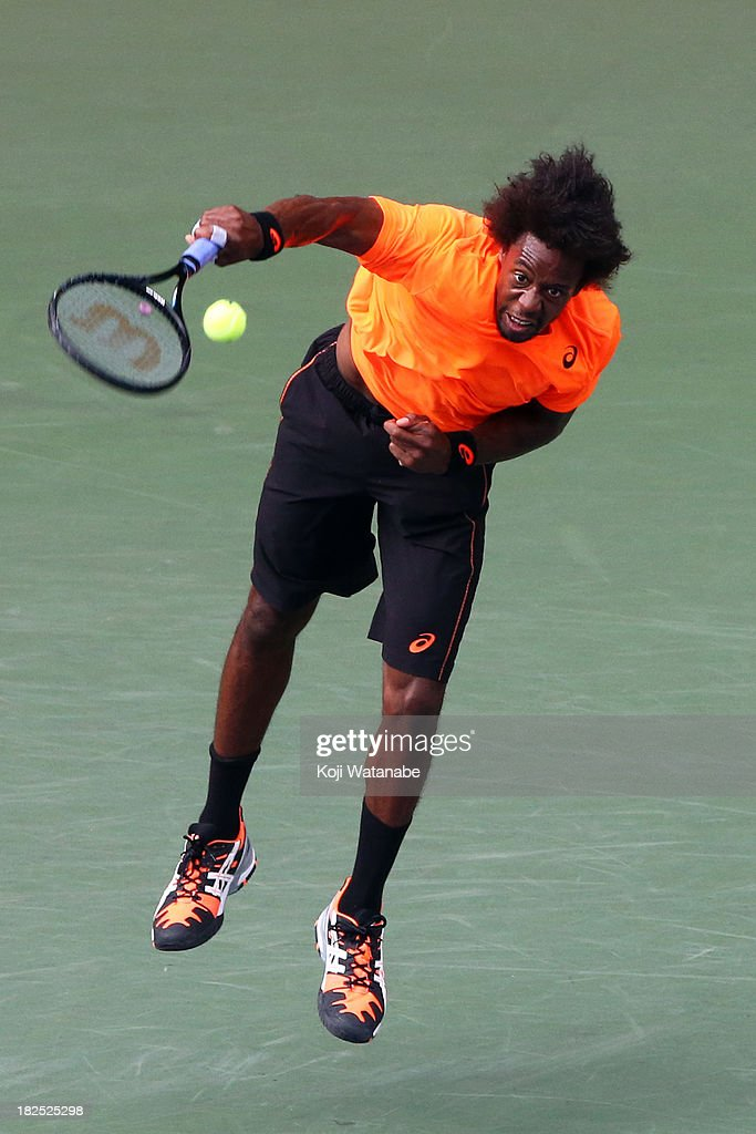 <a gi-track='captionPersonalityLinkClicked' href=/galleries/search?phrase=Gael+Monfils&family=editorial&specificpeople=213774 ng-click='$event.stopPropagation()'>Gael Monfils</a> of France in action during his men's first round match against Jo-Wilfried Tsonga of France during day one of the Rakuten Open at Ariake Colosseum on September 30, 2013 in Tokyo, Japan.