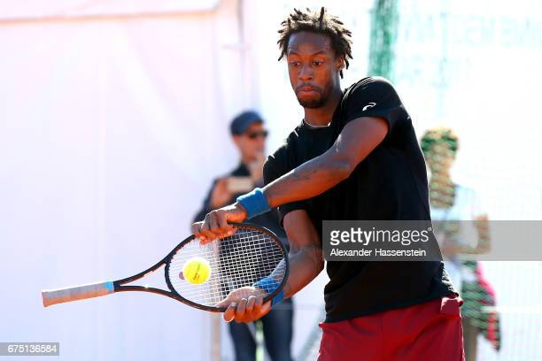 Gael Monfils of France jokes during a training session for the 102 BMW Open by FWU at Iphitos tennis club on April 30 2017 in Munich Germany