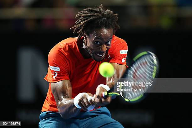 Gael Monfils of France plays a backhand during the FAST4 Tennis exhibition match between Gael Monfils and Nick Kyrgios at Allphones Arena on January...