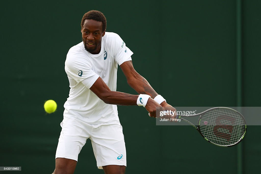 <a gi-track='captionPersonalityLinkClicked' href=/galleries/search?phrase=Gael+Monfils&family=editorial&specificpeople=213774 ng-click='$event.stopPropagation()'>Gael Monfils</a> of France plays a backhand shot during the Men's Singles first round match against Jeremy Chardy of France on day one of the Wimbledon Lawn Tennis Championships at the All England Lawn Tennis and Croquet Club on June 27th, 2016 in London, England.
