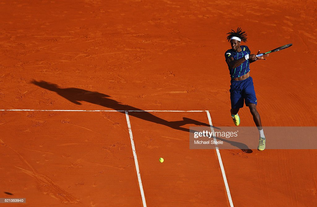 Gael Monfils of France plays a forehand during the quarter final match against Marcel Granollers of Spain on day six of the Monte Carlo Rolex Masters...