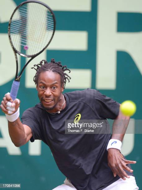 Gael Monfils of France plays a forehand in his quarter final match against Tommy Haas of Germany during day five of the Gerry Weber Open at Gerry...