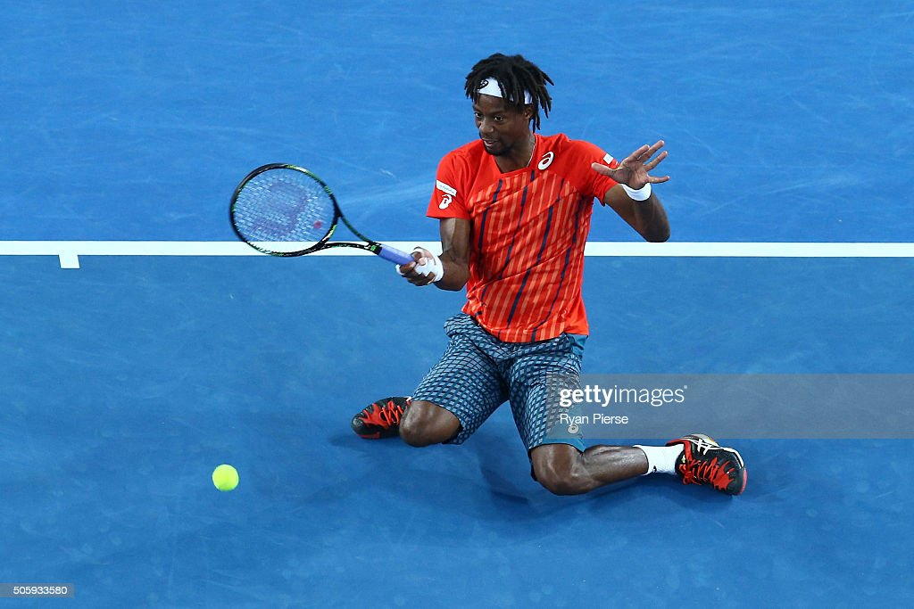 <a gi-track='captionPersonalityLinkClicked' href=/galleries/search?phrase=Gael+Monfils&family=editorial&specificpeople=213774 ng-click='$event.stopPropagation()'>Gael Monfils</a> of France plays a forehand in his second round match against Nicolas Mahut of France during day four of the 2016 Australian Open at Melbourne Park on January 21, 2016 in Melbourne, Australia.