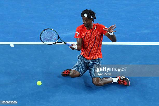 Gael Monfils of France plays a forehand in his second round match against Nicolas Mahut of France during day four of the 2016 Australian Open at...