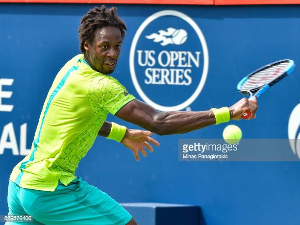 Gael Monfils of France prepares to hit a return against Roberto Bautista Agut of Spain during day seven of the Rogers Cup presented by National Bank...