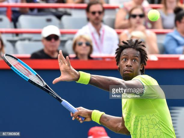 Gael Monfils of France prepares to hit a return against Steve Johnson of the United States during day four of the Rogers Cup presented by National...