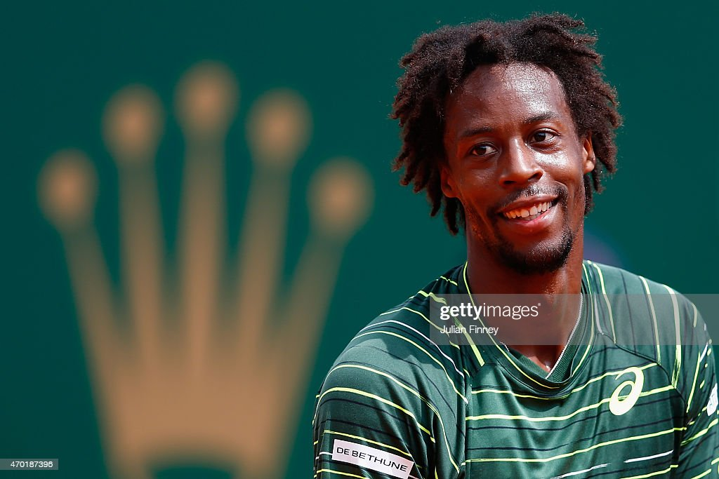 <a gi-track='captionPersonalityLinkClicked' href=/galleries/search?phrase=Gael+Monfils&family=editorial&specificpeople=213774 ng-click='$event.stopPropagation()'>Gael Monfils</a> of France reacts against Tomas Berdych of Czech Republic in the semi finals during day seven of the Monte Carlo Rolex Masters tennis at the Monte-Carlo Sporting Club on April 18, 2015 in Monte-Carlo, Monaco.