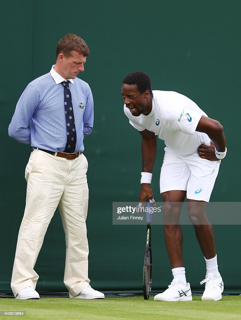 <a gi-track='captionPersonalityLinkClicked' href=/galleries/search?phrase=Gael+Monfils&family=editorial&specificpeople=213774 ng-click='$event.stopPropagation()'>Gael Monfils</a> of France reacts during the Men's Singles first round match against Jeremy Chardy of France on day one of the Wimbledon Lawn Tennis Championships at the All England Lawn Tennis and Croquet Club on June 27th, 2016 in London, England.