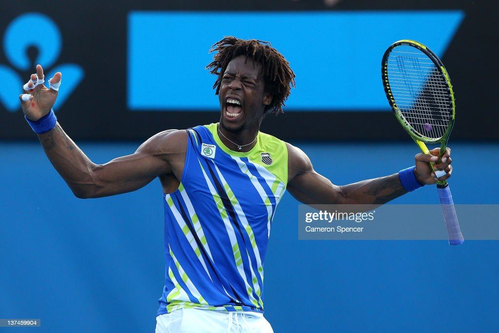 <a gi-track='captionPersonalityLinkClicked' href=/galleries/search?phrase=Gael+Monfils&family=editorial&specificpeople=213774 ng-click='$event.stopPropagation()'>Gael Monfils</a> of France reacts in his third round match against Mikhail Kukushkin of Kazakhstan during day six of the 2012 Australian Open at Melbourne Park on January 21, 2012 in Melbourne, Australia.
