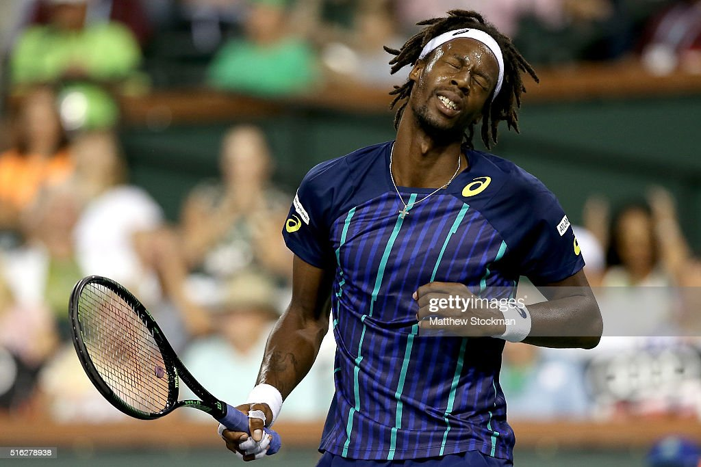 <a gi-track='captionPersonalityLinkClicked' href=/galleries/search?phrase=Gael+Monfils&family=editorial&specificpeople=213774 ng-click='$event.stopPropagation()'>Gael Monfils</a> of France reacts to a lost point while playing Milos Raonic of Canada during the BNP Paribas Open at the Indian Wells Tennis Garden on March 17, 2016 in Indian Wells, California.