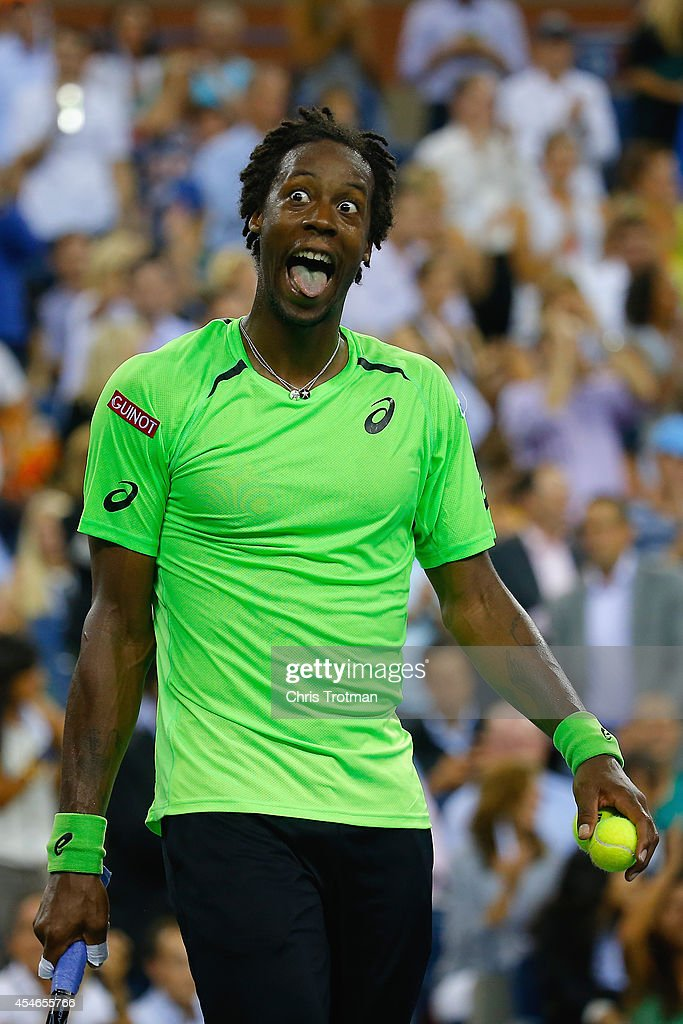 <a gi-track='captionPersonalityLinkClicked' href=/galleries/search?phrase=Gael+Monfils&family=editorial&specificpeople=213774 ng-click='$event.stopPropagation()'>Gael Monfils</a> of France reacts to a point against Roger Federer of Switzerland during their men's singles quarterfinal match on Day Eleven of the 2014 US Open at the USTA Billie Jean King National Tennis Center on September 4, 2014 in the Flushing neighborhood of the Queens borough of New York City.