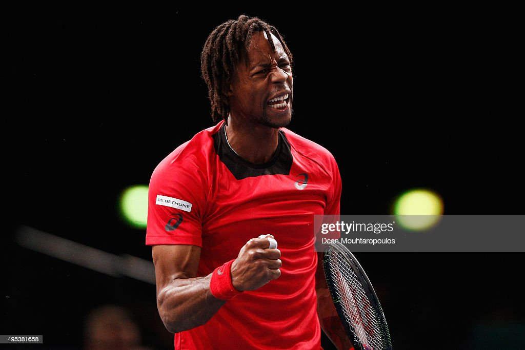 Gael Monfils of France reacts to a won point against Benoit Paire of France during Day 1 of the BNP Paribas Masters held at AccorHotels Arena on November 2, 2015 in Paris, France.
