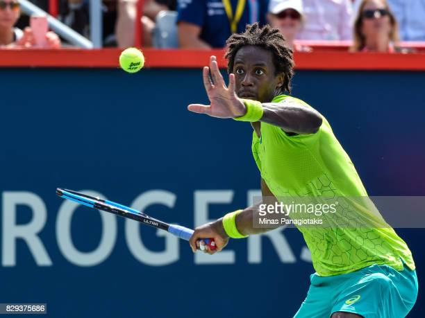 Gael Monfils of France remains focused as he prepares to hit a return against Roberto Bautista Agut of Spain during day seven of the Rogers Cup...