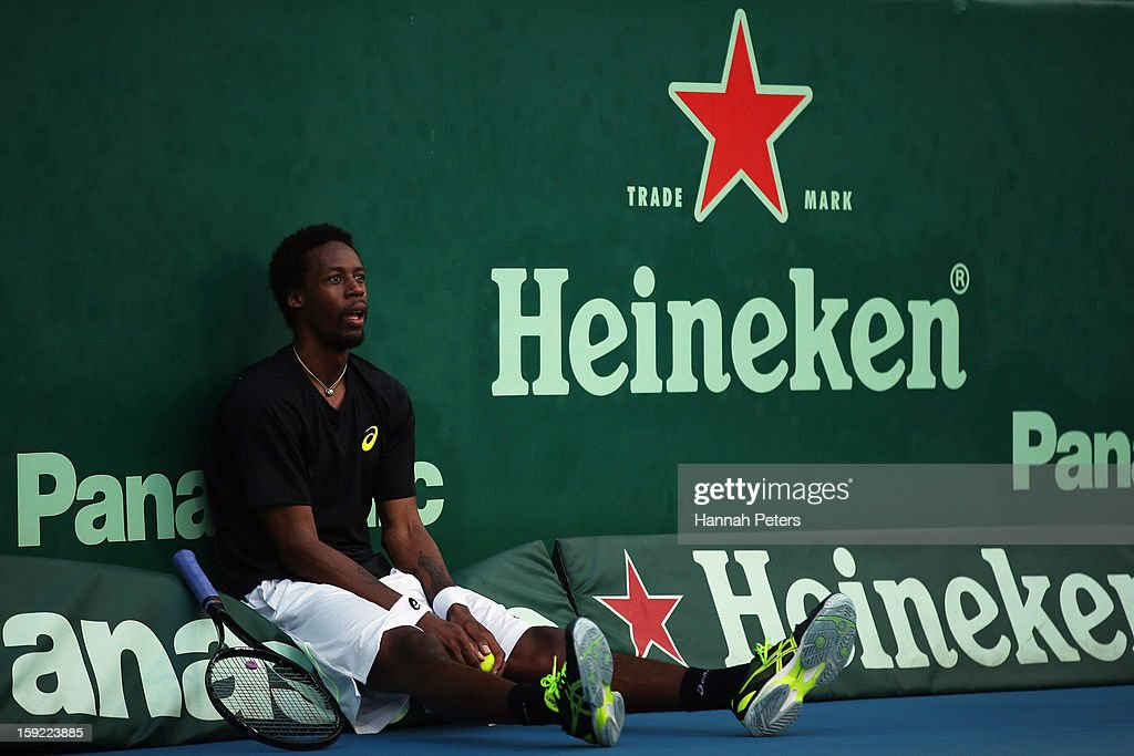 Gael Monfils of France rests during his quarterfinal match against Tommy Haas of Germany during day four of the Heineken Open at the ASB Tennis Centre on January 10, 2013 in Auckland, New Zealand.