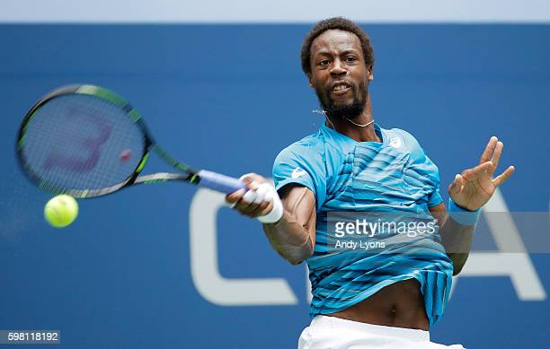 Gael Monfils of France returns a shot to Jan Satral of the Czech Republic during his second round Men's Singles match on Day Three of the 2016 US...