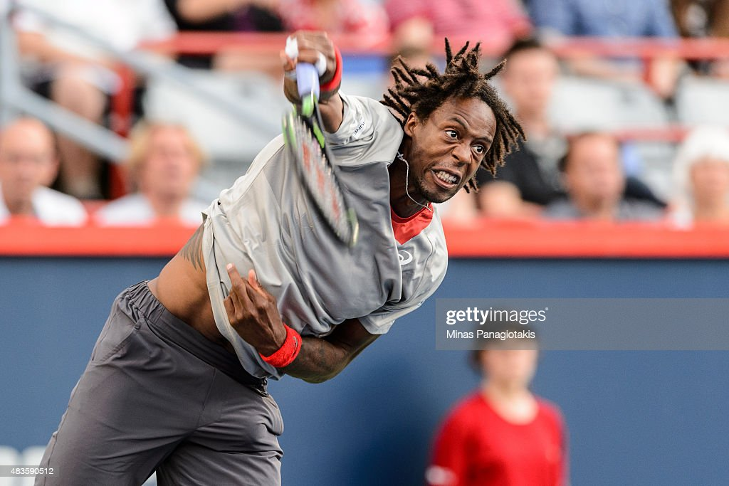 Gael Monfils of France serves the ball against Fabio Fognini of Italy during day one of the Rogers Cup at Uniprix Stadium on August 10 2015 in...