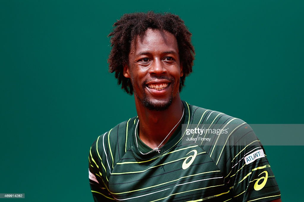 <a gi-track='captionPersonalityLinkClicked' href=/galleries/search?phrase=Gael+Monfils&family=editorial&specificpeople=213774 ng-click='$event.stopPropagation()'>Gael Monfils</a> of France smiles as he celebrates defeating Roger Federer of Switzerland during day five of the Monte Carlo Rolex Masters tennis at the Monte-Carlo Sporting Club on April 16, 2015 in Monte-Carlo, Monaco.