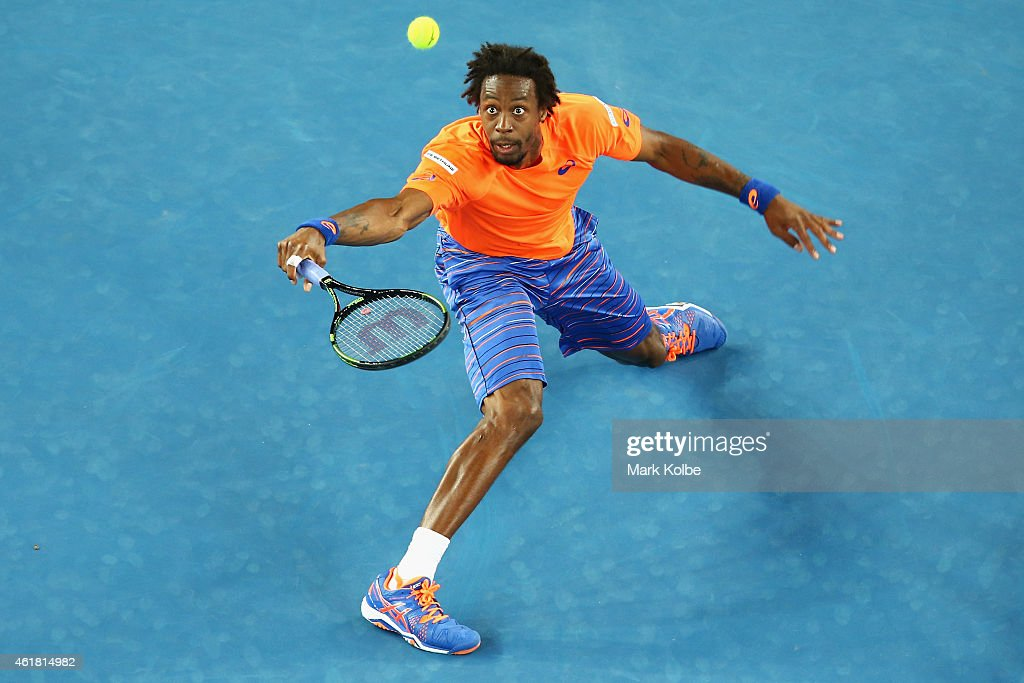 <a gi-track='captionPersonalityLinkClicked' href=/galleries/search?phrase=Gael+Monfils&family=editorial&specificpeople=213774 ng-click='$event.stopPropagation()'>Gael Monfils</a> of France stretches to play a shot in his first round match against Lucas Pouille of France during day two of the 2015 Australian Open at Melbourne Park on January 20, 2015 in Melbourne, Australia.