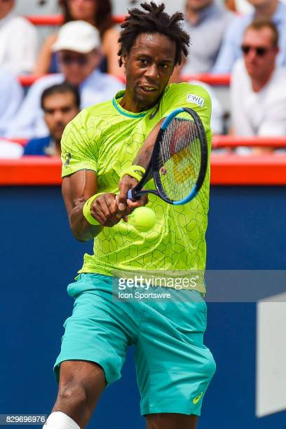 Gael Monfils returns the ball during his third round match at ATP Coupe Rogers on August 10 at Uniprix Stadium in Montreal QC