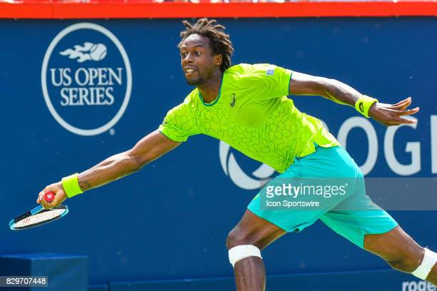 Gael Monfils runs towards the ball during his third round match at ATP Coupe Rogers on August 10 at Uniprix Stadium in Montreal QC