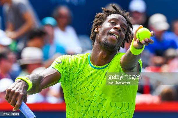 Gael Monfils serves the ball during his third round match at ATP Coupe Rogers on August 10 at Uniprix Stadium in Montreal QC