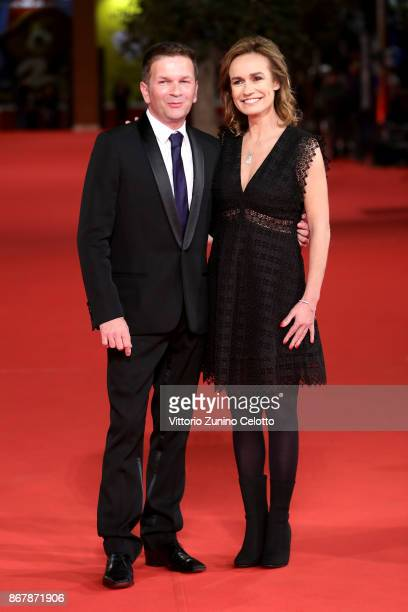 Gael Morel and Sandrine Bonnaire walk a red carpet for 'Prendre La Large' during the 12th Rome Film Fest at Auditorium Parco Della Musica on October...