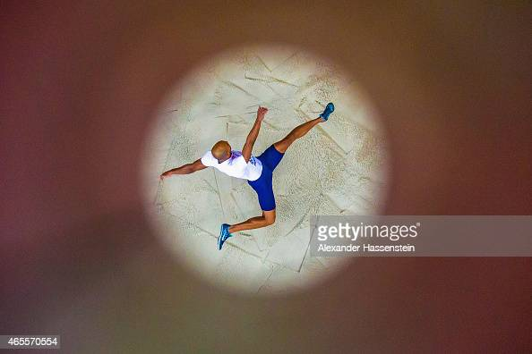 Gael Querin of France competes in the Men's Heptathlon Long Jump during day two of the 2015 European Athletics Indoor Championships at O2 Arena on...