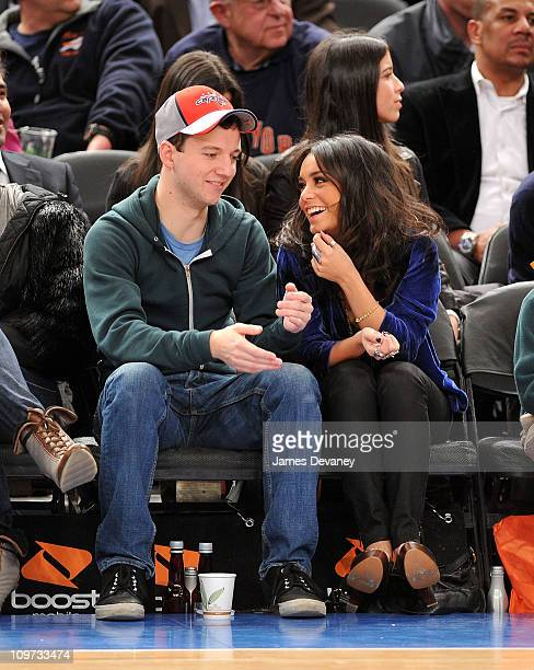 Gaelan Connell and Vanessa Hudgens attend New Orleans Hornets vs New York Knicks game at Madison Square Garden on March 2 2011 in New York City
