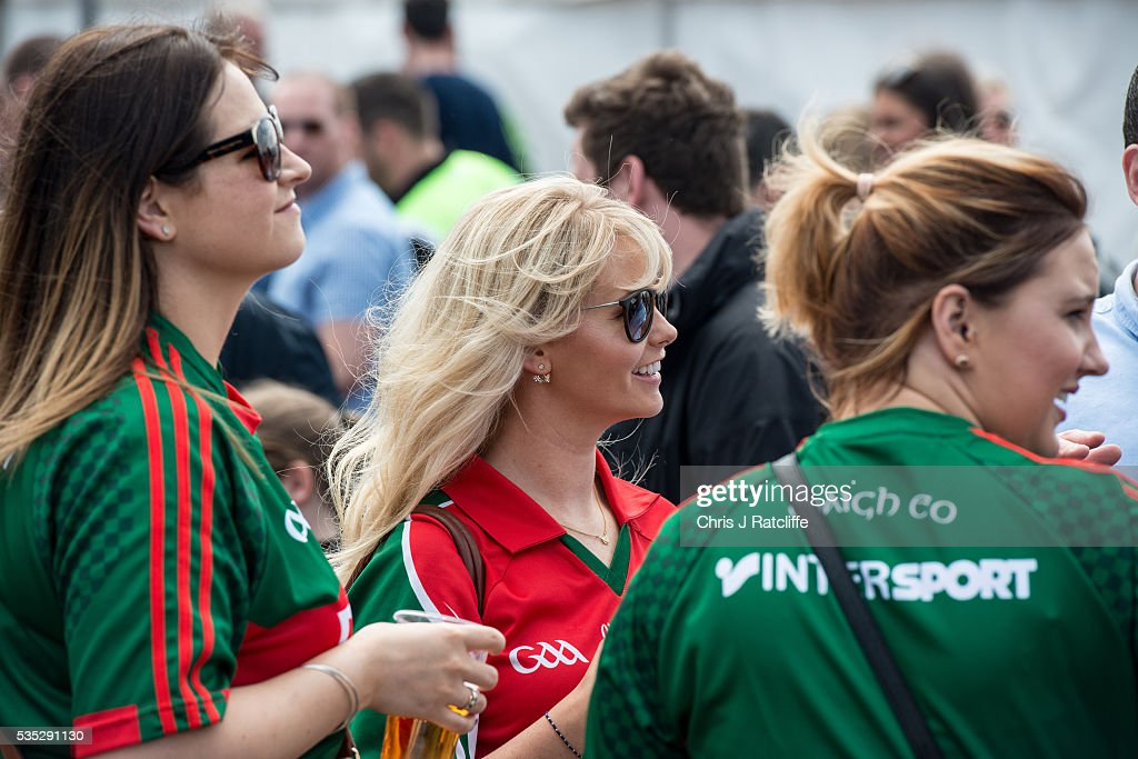 Gaelic football fans and Mayo supporters chat and drink before as Prime Minister of Ireland Enda Kenny attends an event to meet Irish4Europe campaigners at the London v Mayo Gaelic football game on May 28, 2016 in Ruislip, England. Mr Kenny spoke to Irish4Europe campaigners and the media in support of Britain remaining in the European Union. Britain will go to the polls to vote in the European referendum on June 23.