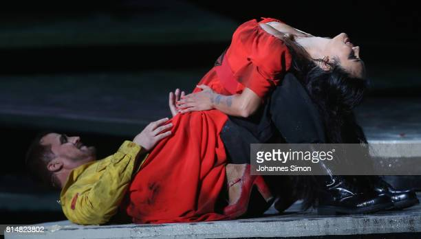 Gaelle Arquez as Carmen and Daniel Johansson as Don Jose perform during the rehearsal of the opera 'Carmen' prior the Bregenz Festival on July 14...