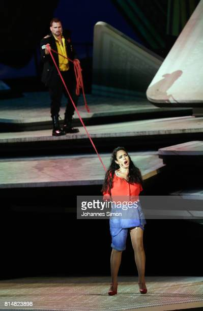 Gaelle Arquez as Carmen and Daniel Johansson as Don Jose performs during the rehearsal of the opera 'Carmen' prior the Bregenz Festival on July 14...