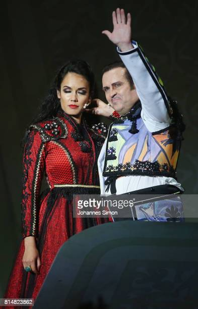 Gaelle Arquez as Carmen and Scott Hendricks as Escamillo perform during the rehearsal of the opera 'Carmen' prior the Bregenz Festival on July 14...